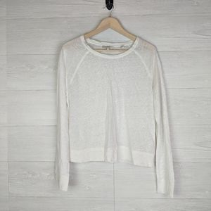 Vince Linen White Long Sleeve Crew Neck Top